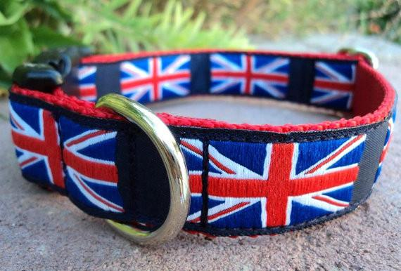 "Union Jack Collar 1"" wide adjustable quick snap collar"
