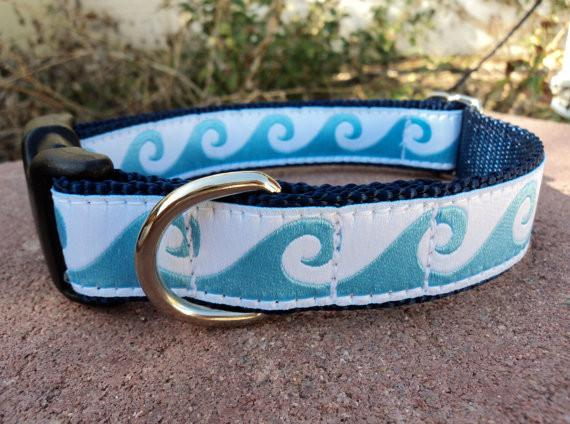 Blue Waves Ocean Dog Collar - 1 Inch Wide Adjustable Quick Snap